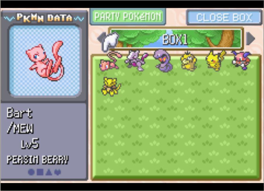 Seven Pokemon, freshly transferred from Pokemon Yellow