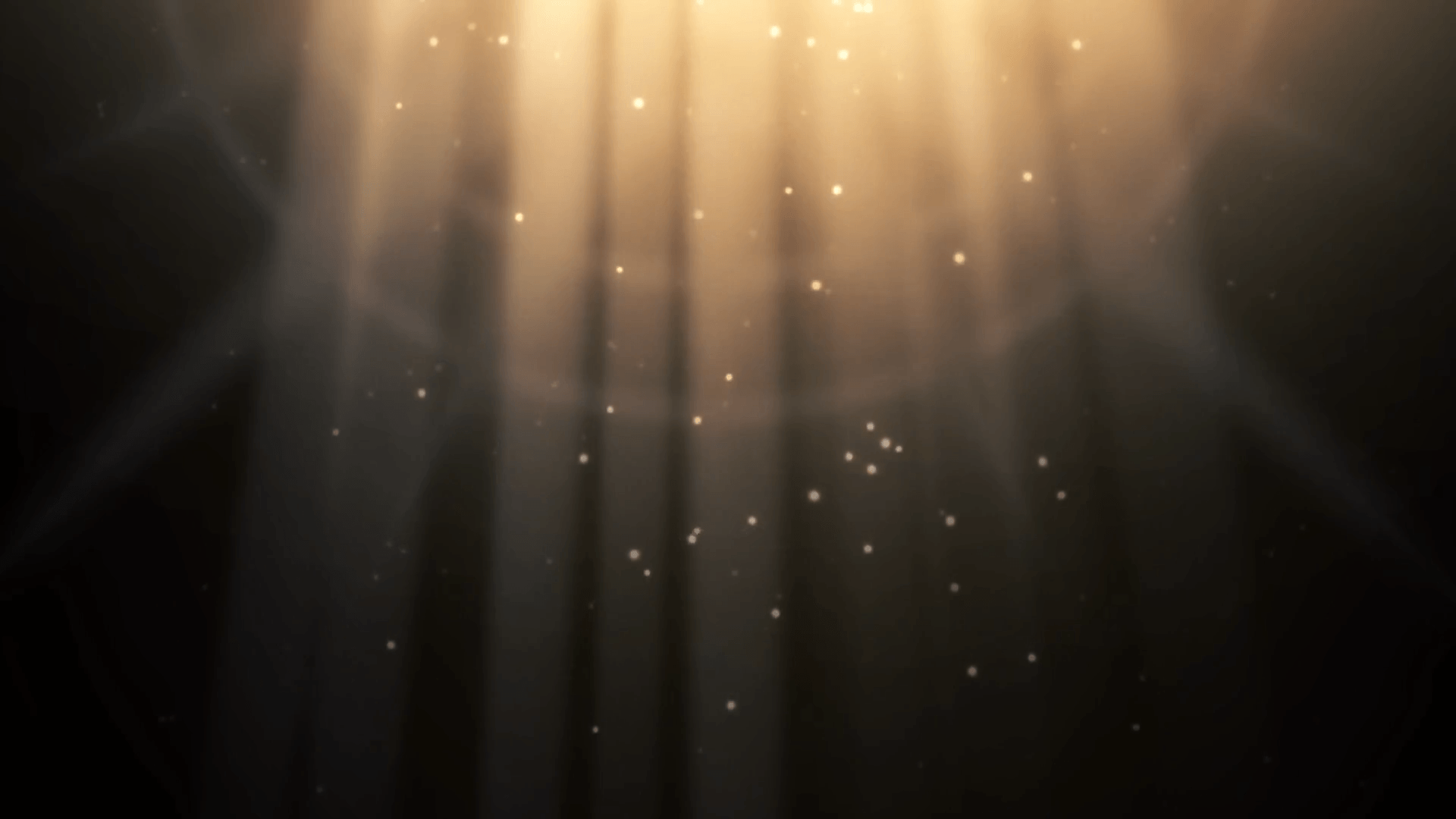 One of the backgrounds from the title screen of Hollow Knight, a dark yellow landscape with a light coming from the top, almost resembling a spotlight.