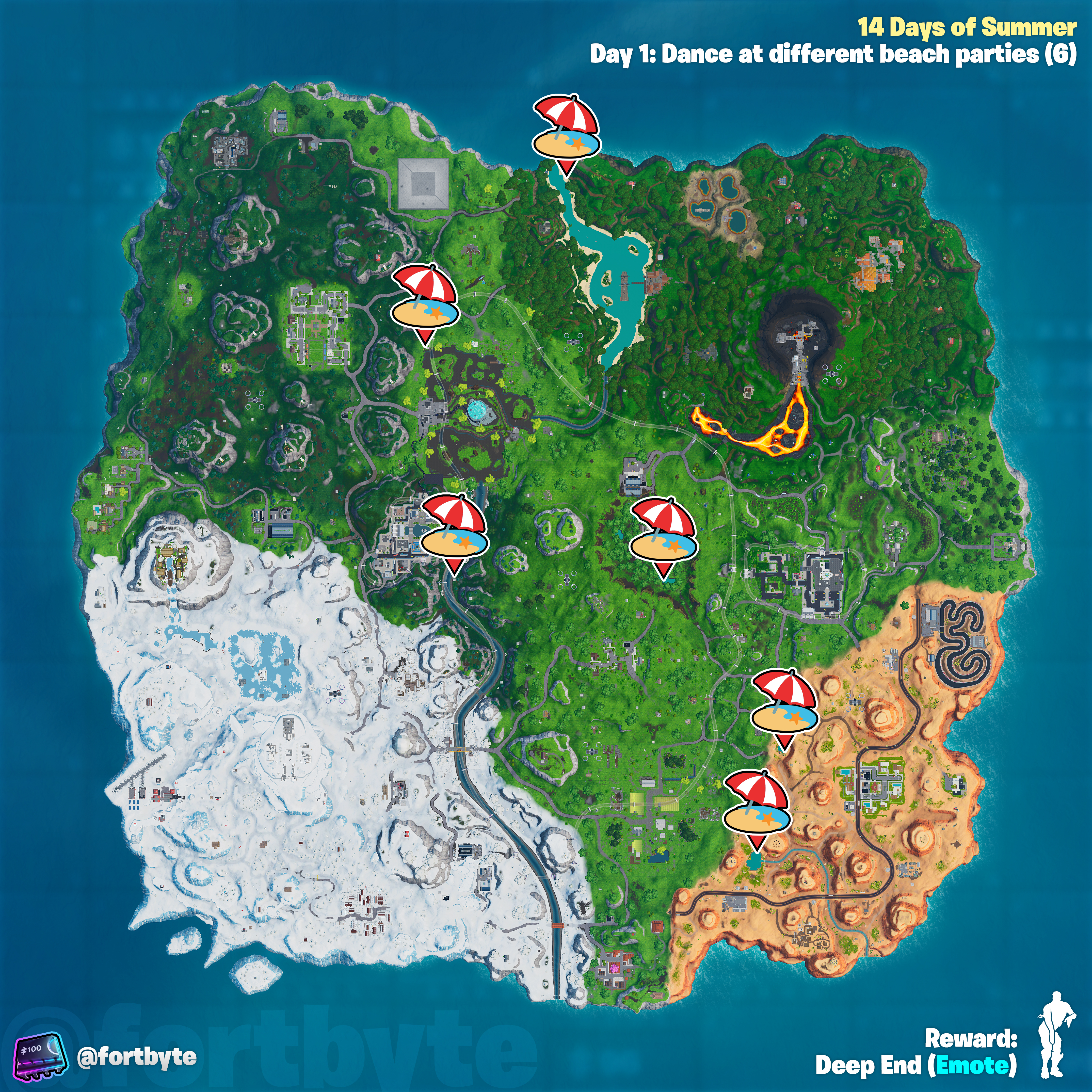 , Fortnite 14 Days of Summer – Dance at different beach parties location guide, AllYourGames.com, AllYourGames.com
