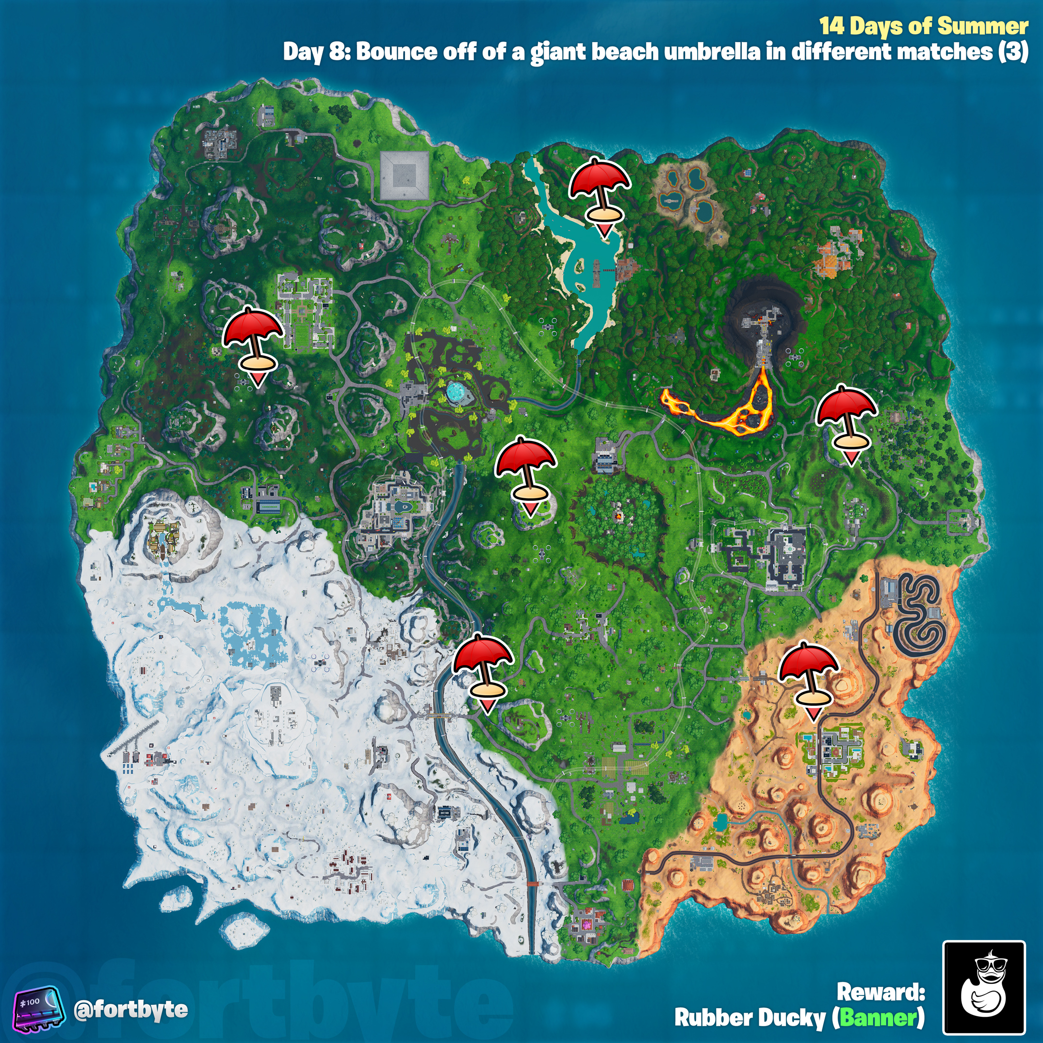 , Fortnite 14 Days of Summer – Bounce off of a giant beach umbrella in different matches location guide, AllYourGames.com, AllYourGames.com