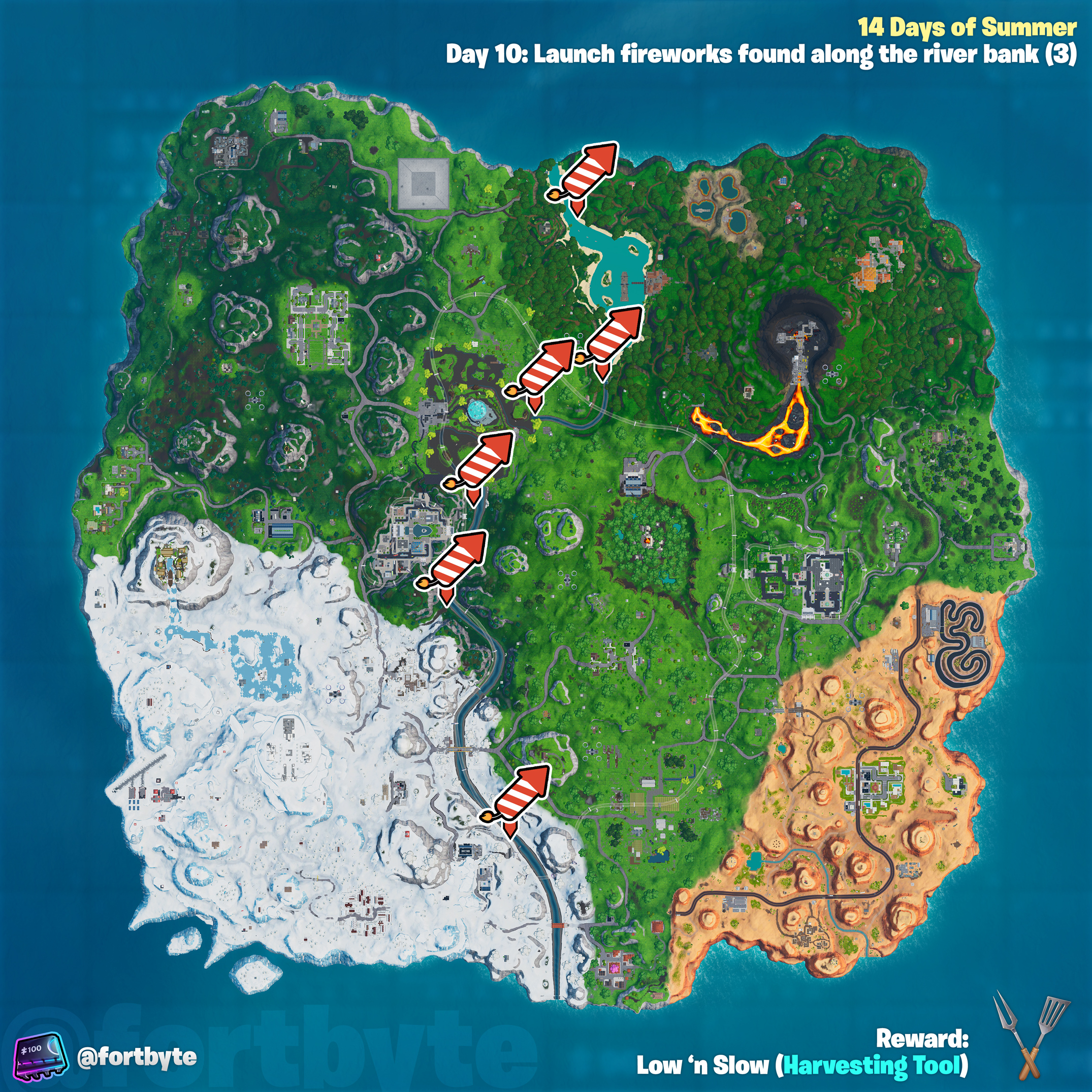 , Fortnite 14 Days of Summer – Launch fireworks found along the river bank location guide, AllYourGames.com, AllYourGames.com