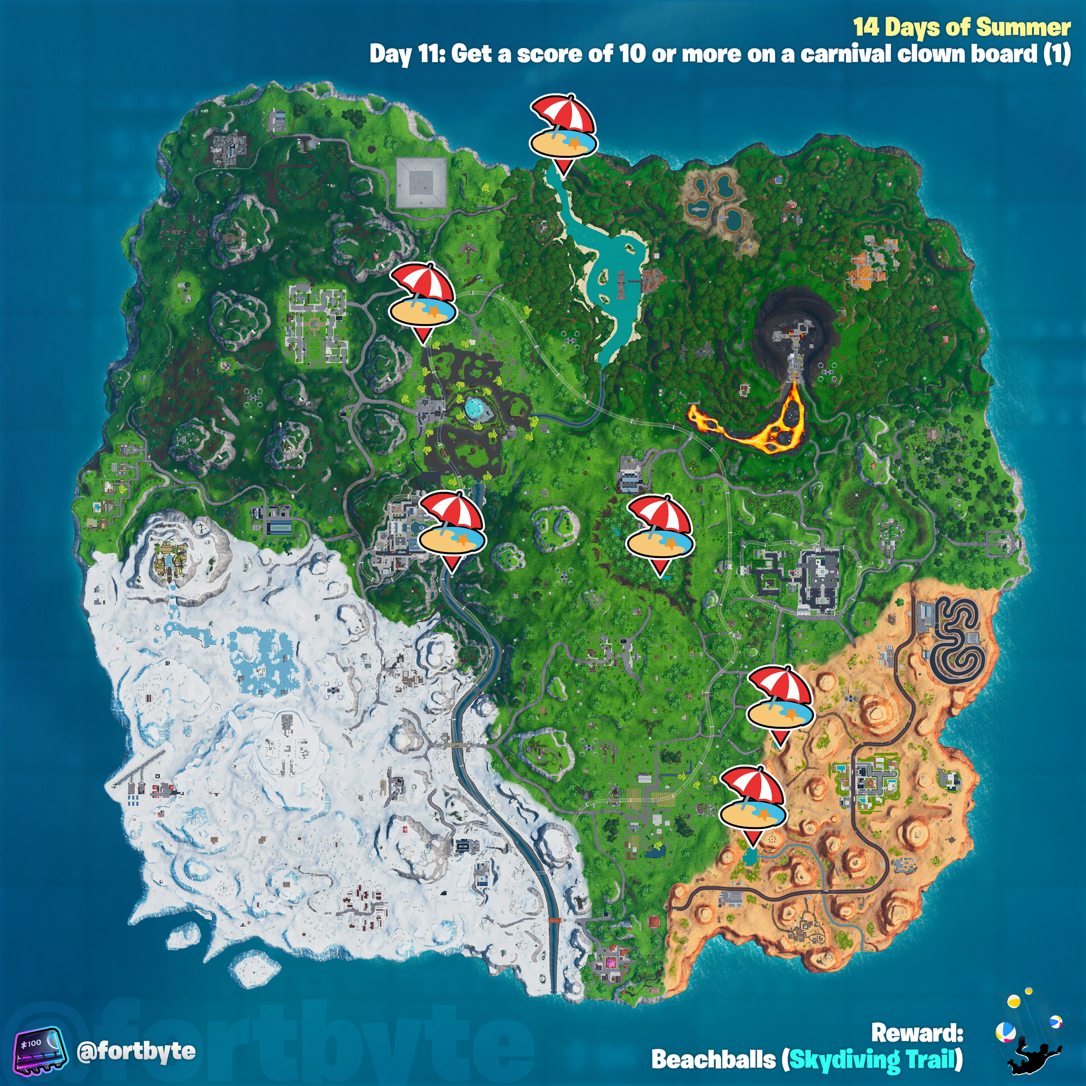 , Fortnite 14 Days of Summer – Get a score of 10 or more on a carnival clown board location guide, AllYourGames.com, AllYourGames.com