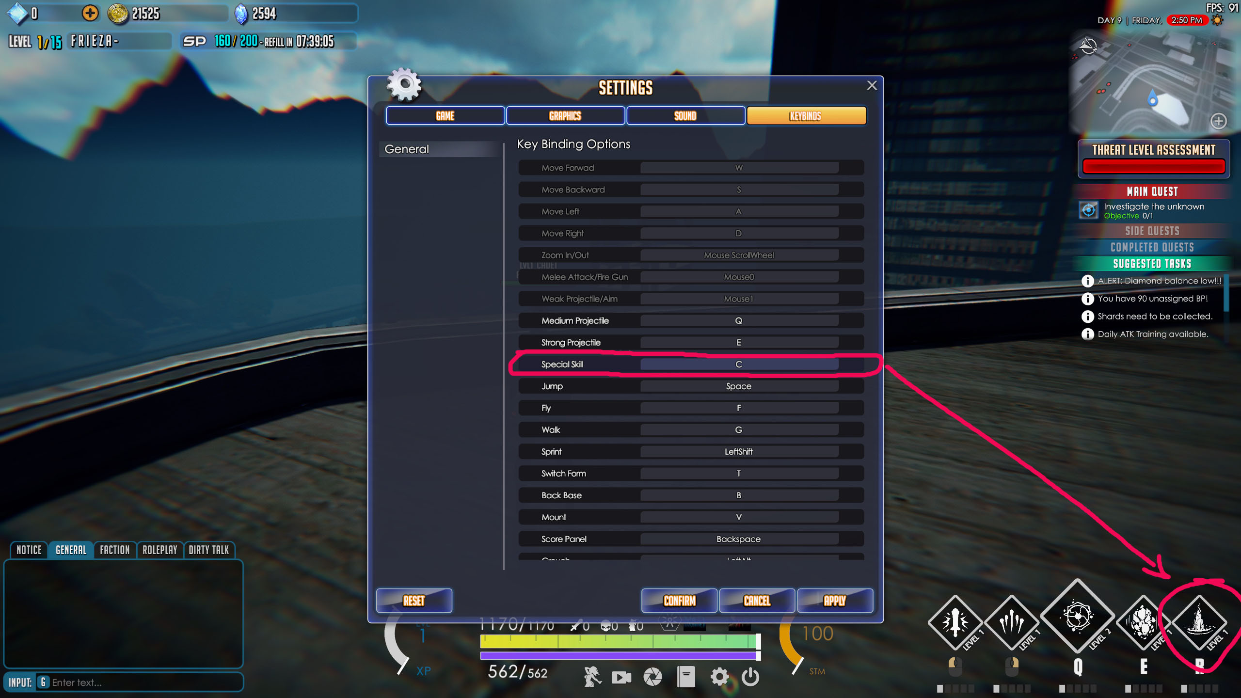 Updated UI on any keybinding changes
