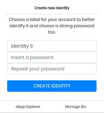 Create new Identity