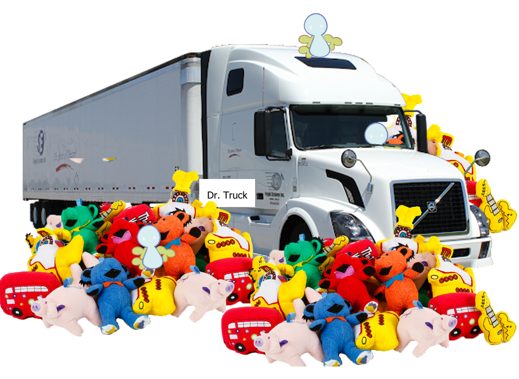 """A photo of a truck with stuffed animals edited to be surrounding it. A photoshopped nametag on the truck says """"Dr. Truck."""""""