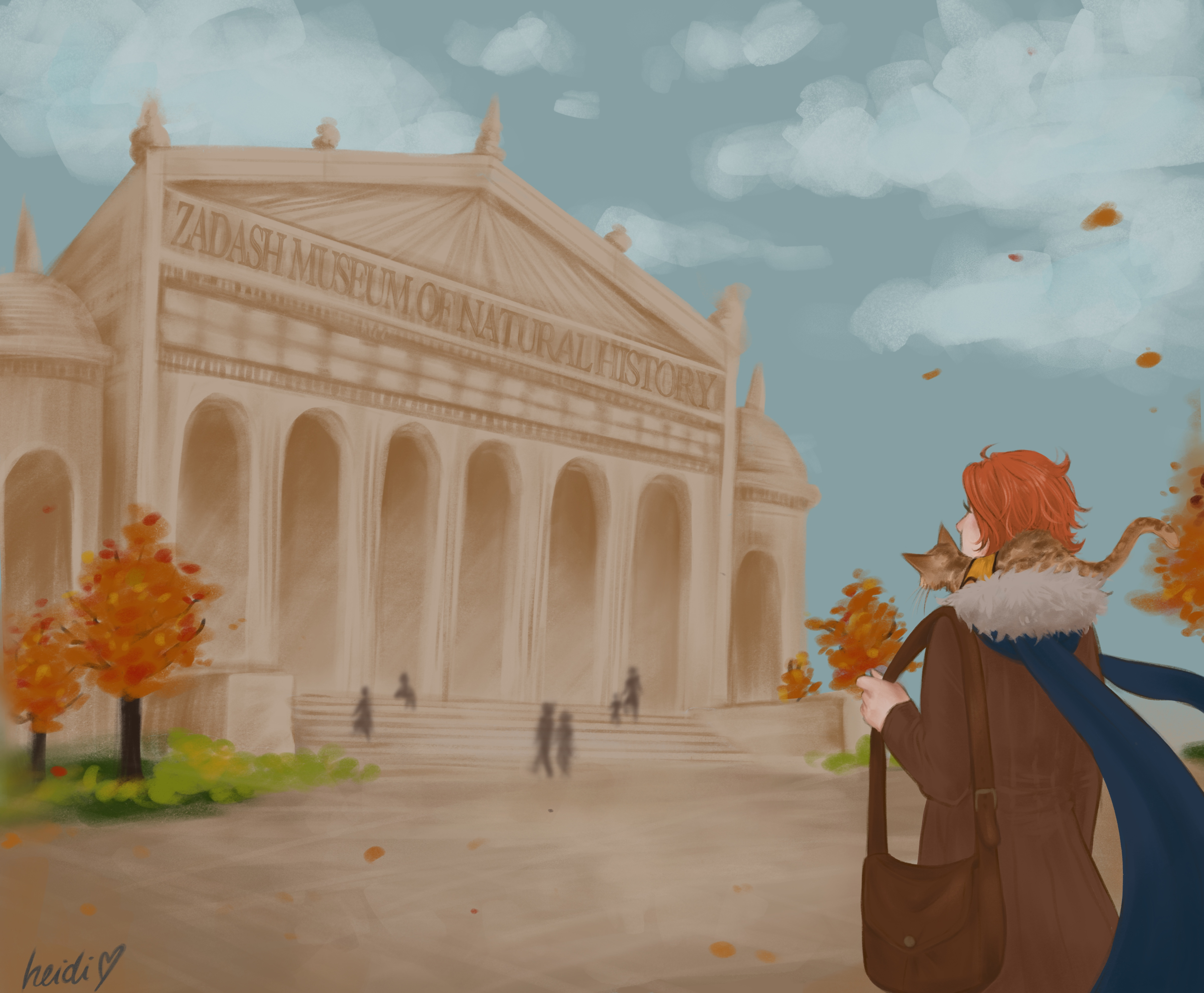 Art of Caleb arriving outside the museum by @heidzdraws on twitter