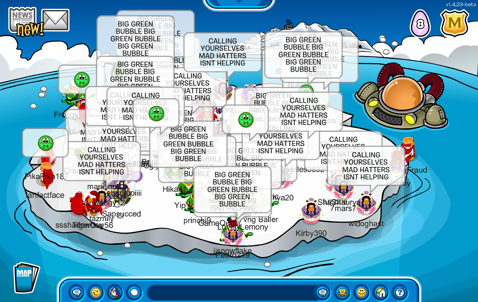 An image of Club Penguin's iceberg. Air Force are dressed in purple, Navy in green, and Fire Warriors in red. They are each chanting tactics at each other.