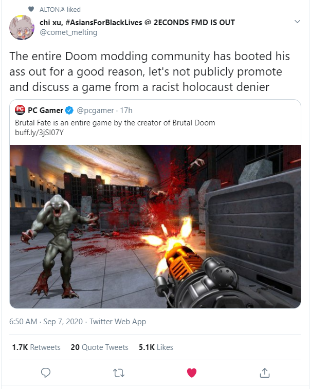 The entire Doom modding community has booted his ass out for a good reason, let's not publicly promote and discuss a game from a racist holocaust denier