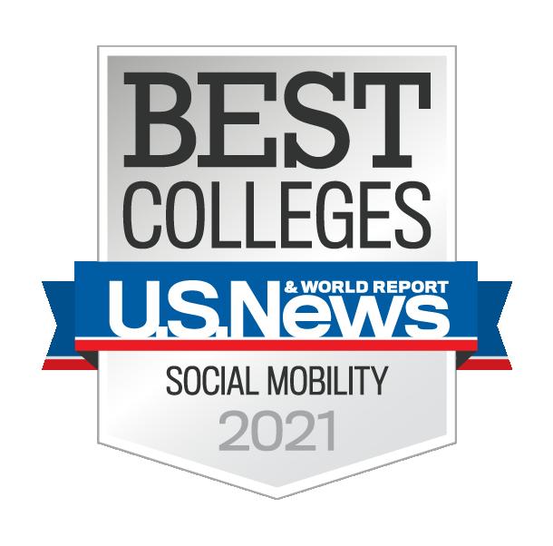 《美国新闻与世界报道》评选的2021年度最佳社会流动性大学徽章
