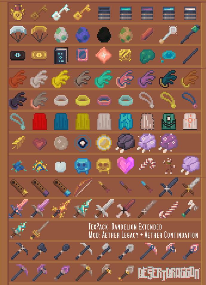 Dandelion Aether Mod Items