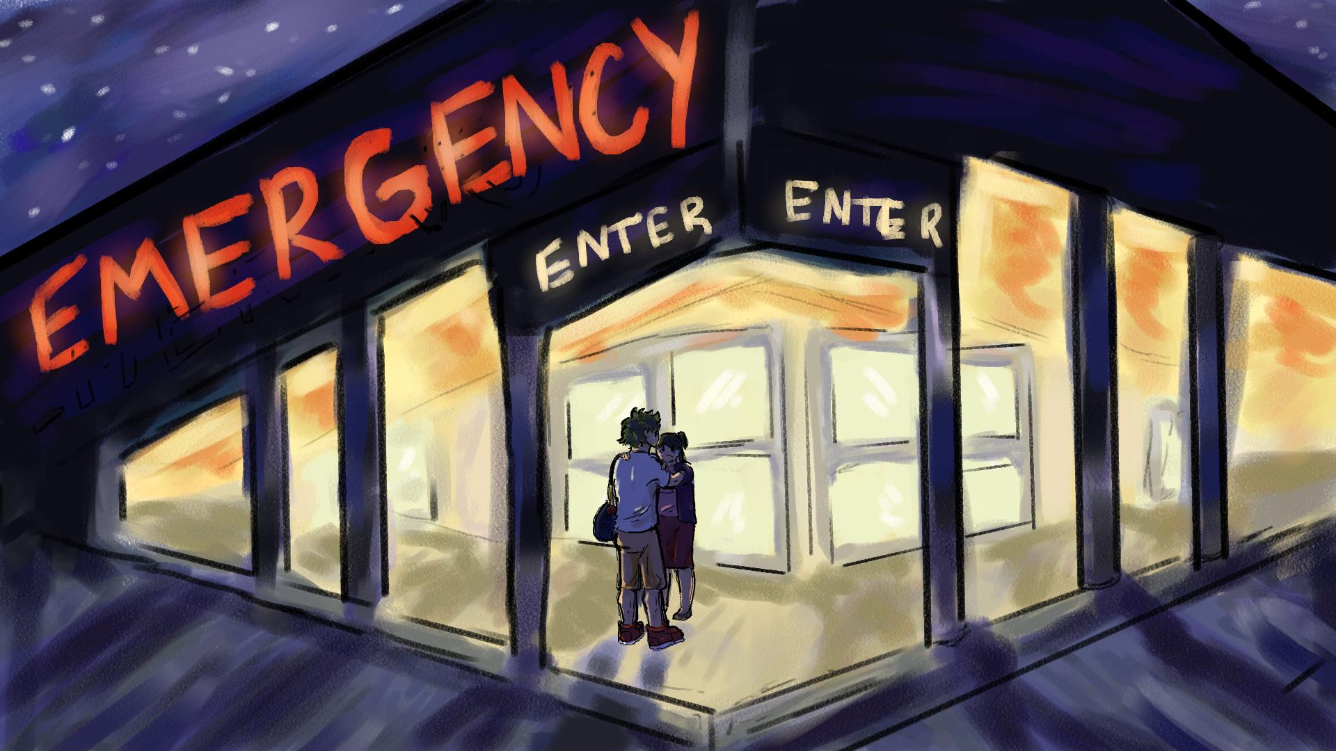 Izuku and Inko talking outside the Emergency Room