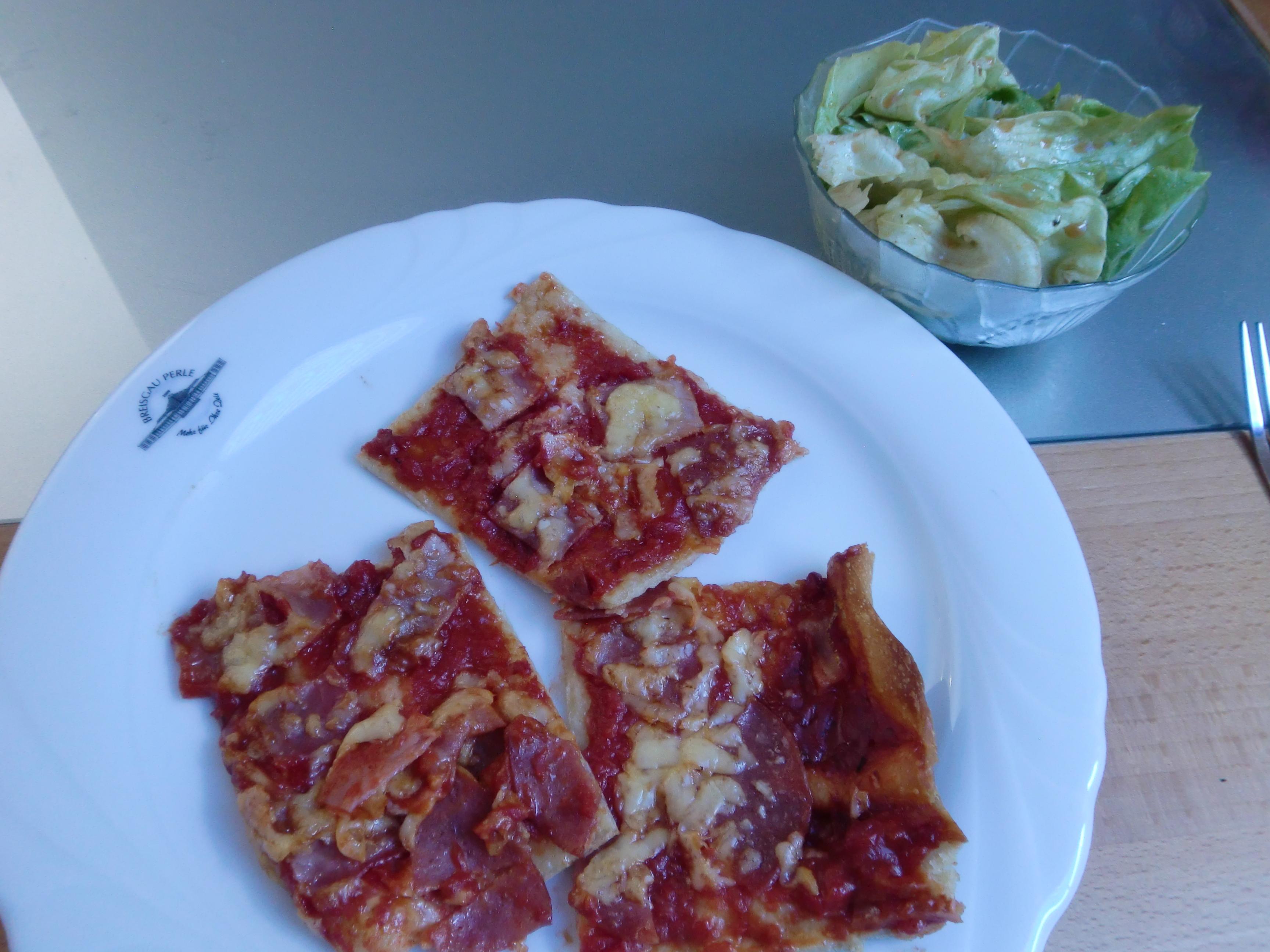 Selfmade Pizza and Salad