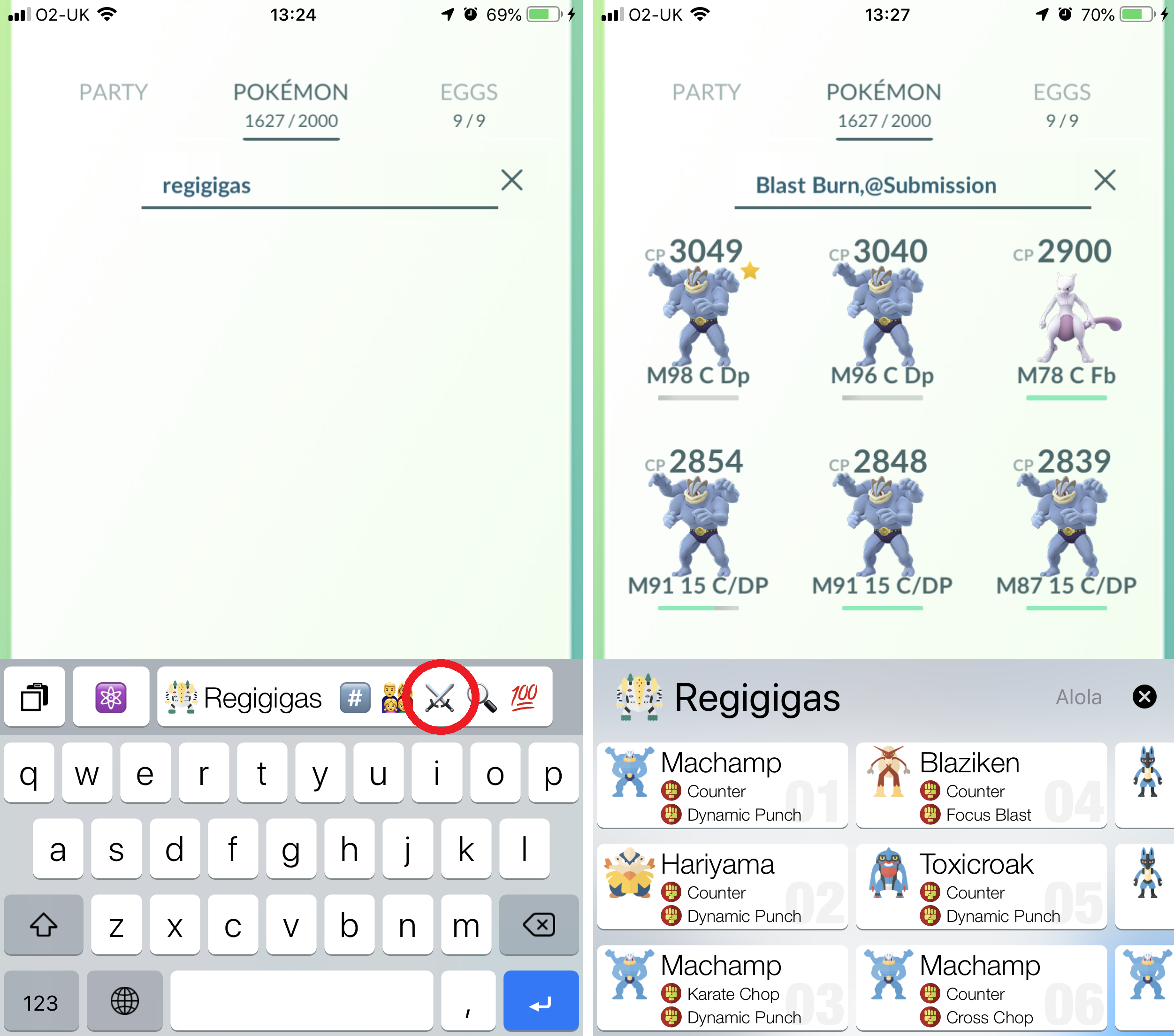 PokéKeys App Review - Screenshots showing the Raid Boss counters search string generator in action