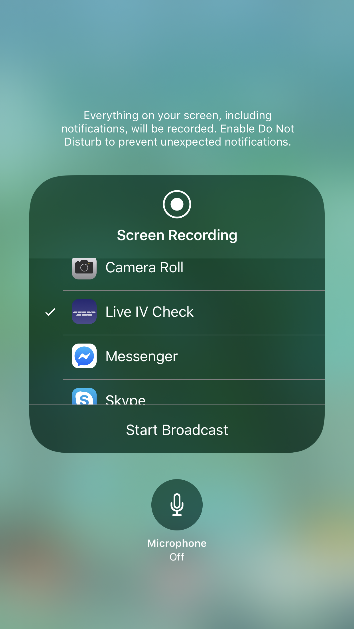 PokéKeys App Review - Screenshot showing the Live IV Check 'Start Broadcast' screen within the iOS Screen Recorder