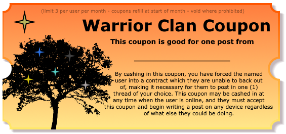 Warrior Clan Coupons - Make your friends post! Postcoupon_blank