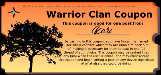 Warrior Clan Coupons - Make your friends post! Postcoupon_kari