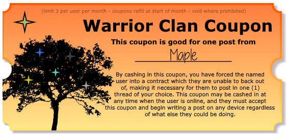 Warrior Clan Coupons - Make your friends post! Postcoupon_maple
