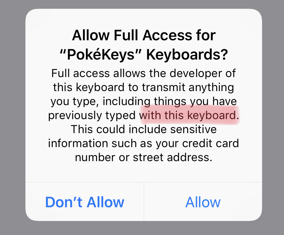 PokéKeys App Review - Screenshot showing the warning given when a third party keyboard is granted full access
