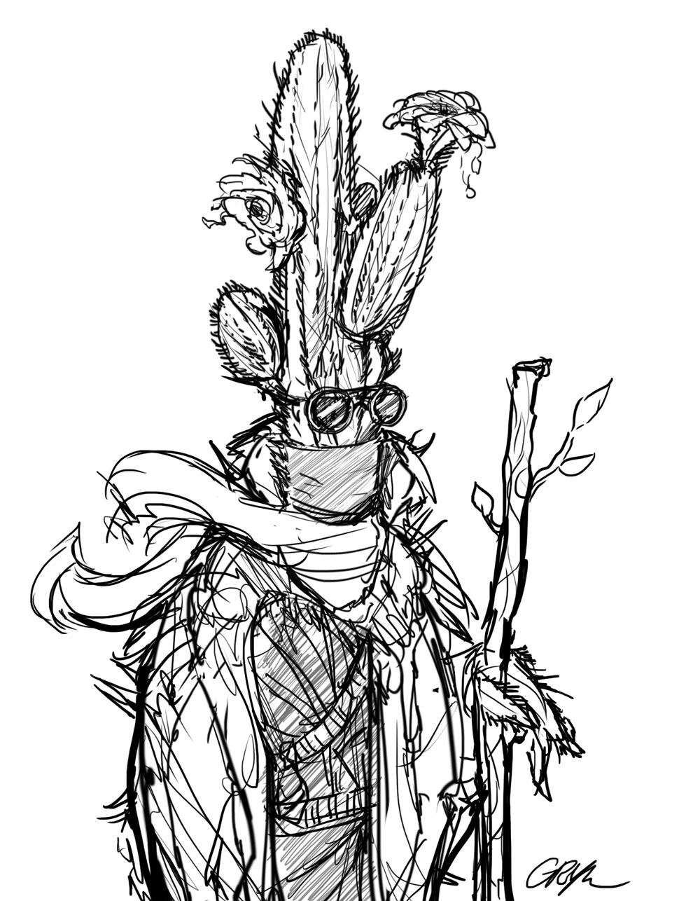 Spini is pictured in full desert-goer garb along with protective goggles and a hiking stick. A couple of flowers bloom from their 'head'.