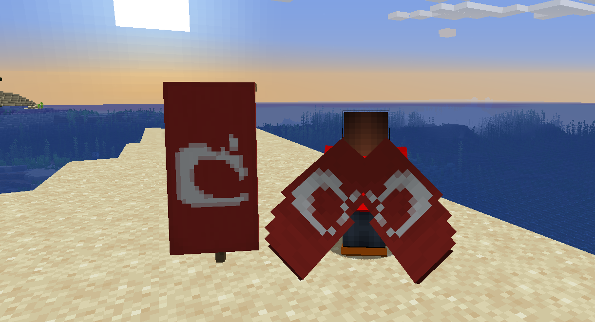 "Red and white Mojang ""thing"" banner and matching elytra"