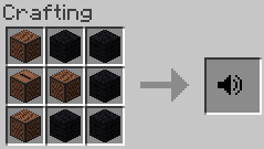 one juke box at middle left, one noteblock at the middle, one noteblock at top left, one note block at down left and then fill the empty slots with black wool