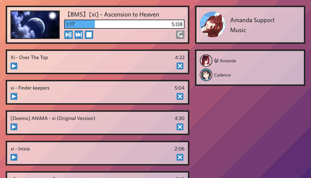 A screenshot of a website displaying a list of songs and playback controls.