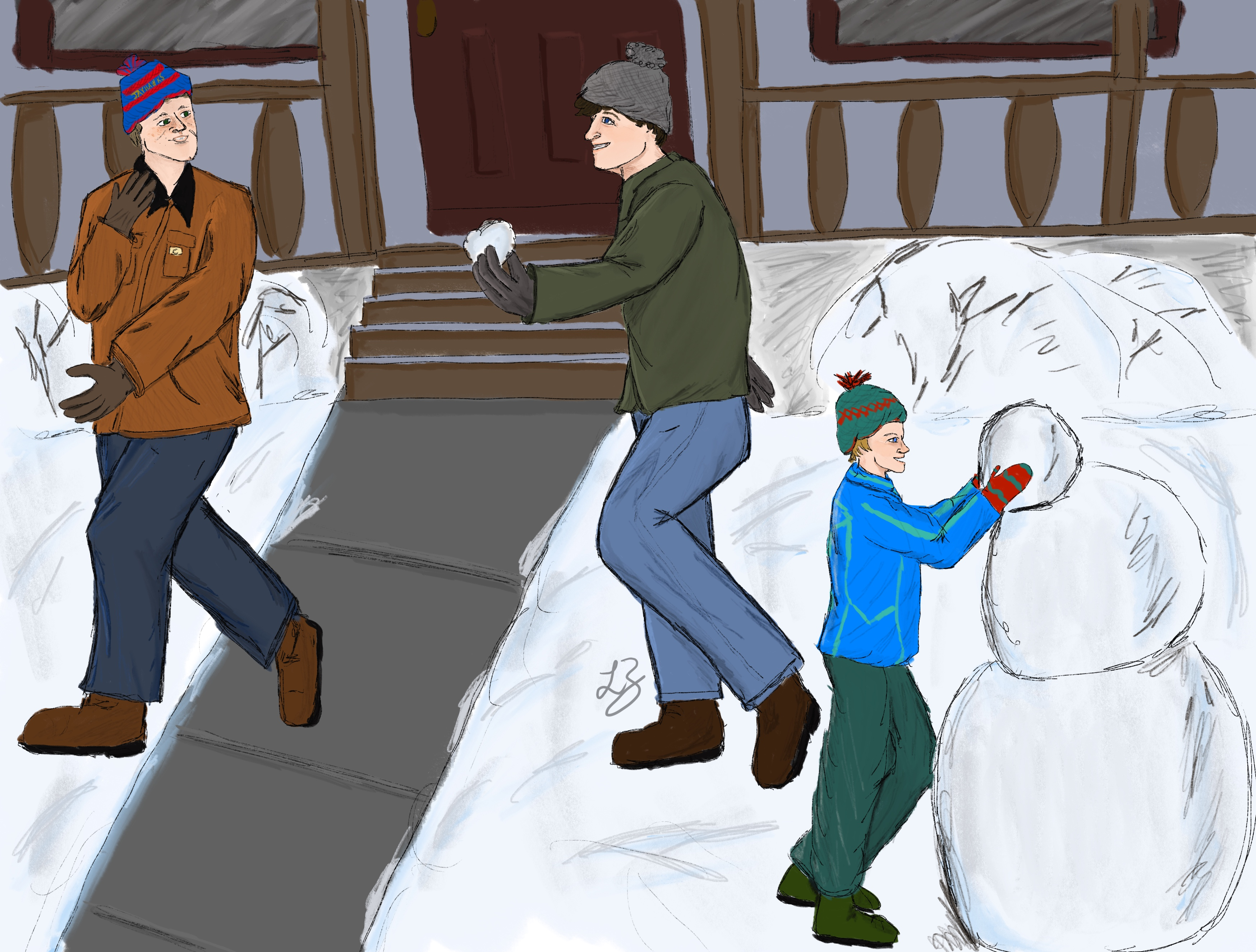 Jack building a snowman as Dean and Castiel have a snowball fight in the background