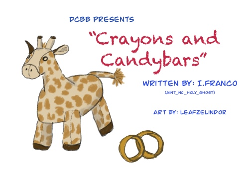 A plush toy giraffe and two wedding rings. Tittle: Crayons and candy Bars, written by I. Franco (aint_no_holy_ghost) and art by leafzelindor.