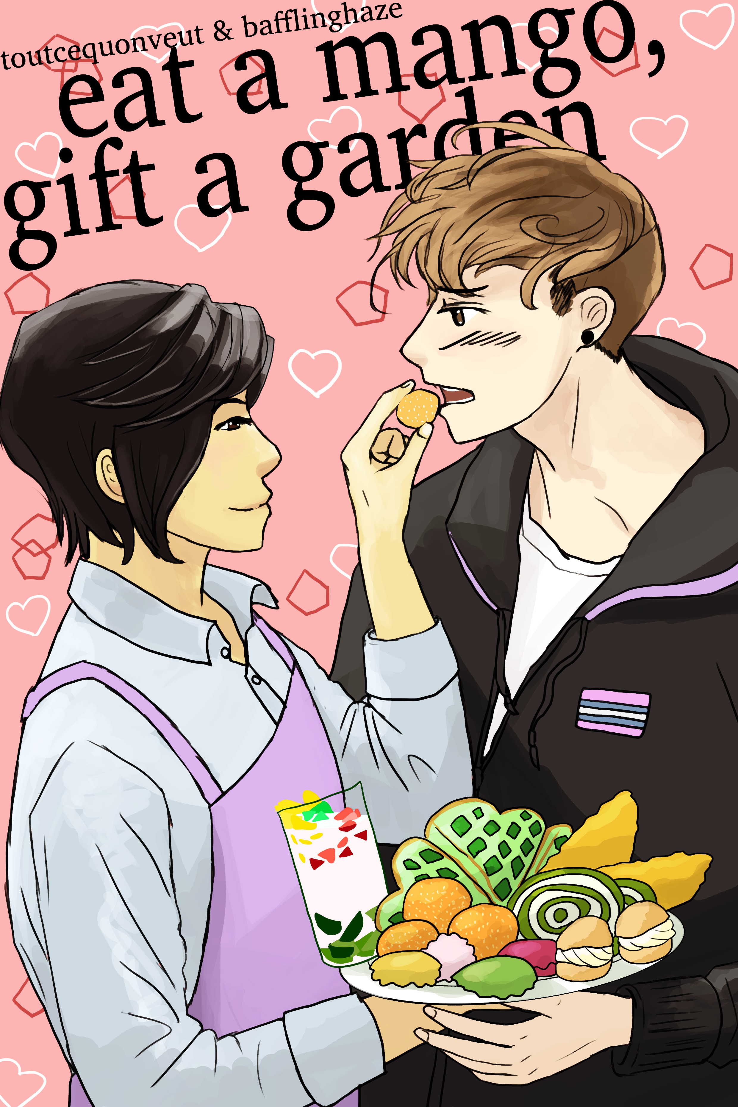 Book cover: Khánh stands on the left feeding a Vietnamese dessert to Kai on the right. Khánh is wearing a light blue long-sleeved shirt with a light purple apron, and their hair is dark brown bobcut. They are holding a plate of desserts. Kai is wearing a puffy black coat and has light brown hair in an undercut. The background is pink with hearts and pentagons.