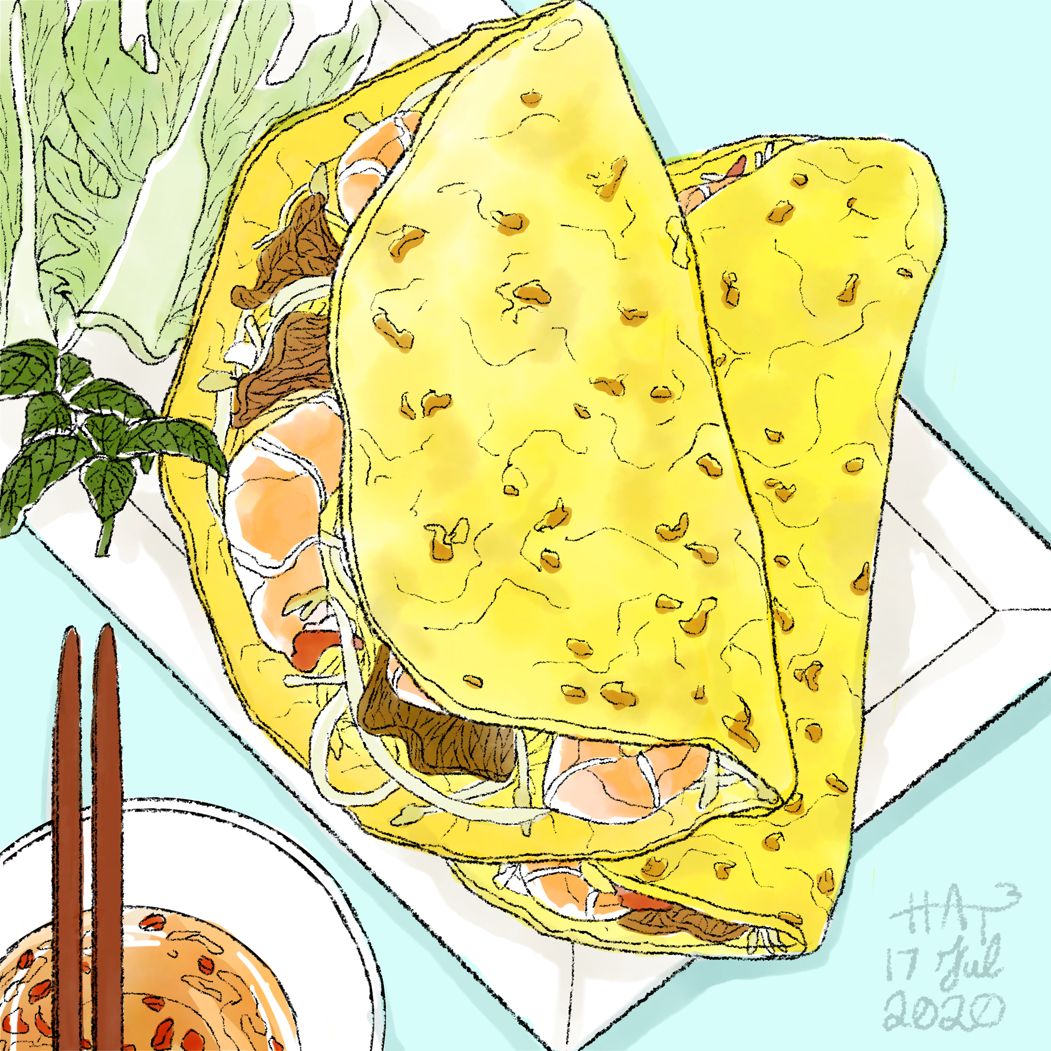 A digital drawing of a bright yellow bánh xèo with shrimp, meat, and beansprout filling lies on a white plate alongside lettuce. There is a bowl in the corner with chopsticks and fish sauce. The background is light blue.