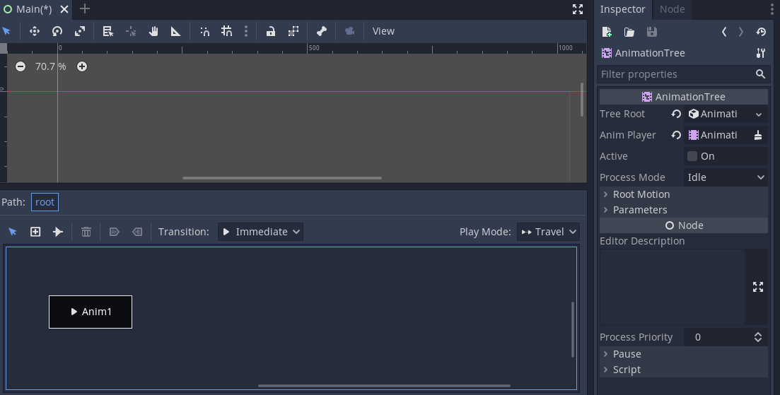 **AnimationTree** selected in inspector