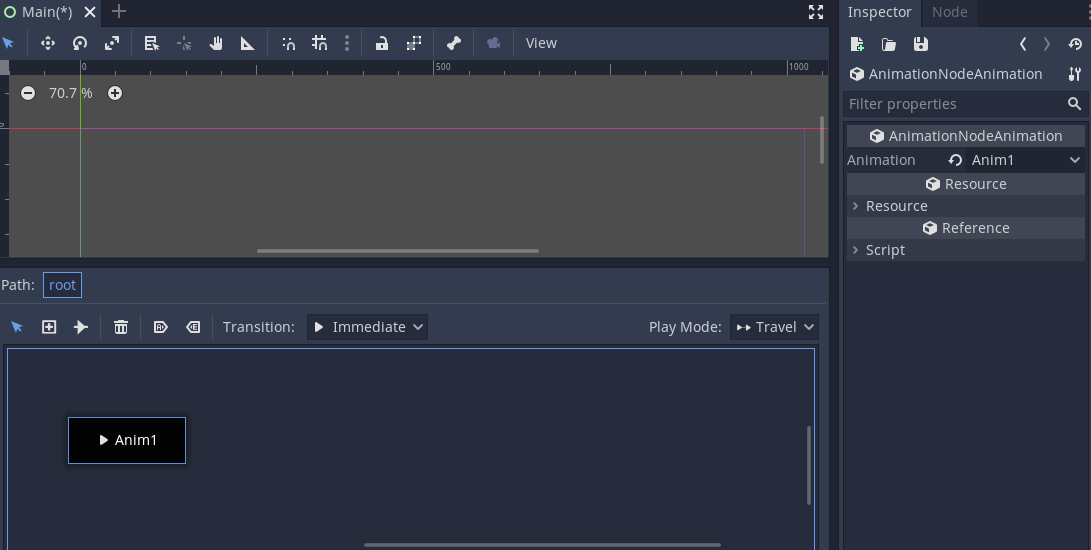 **AnimationNodeAnimation** selected in Inspector