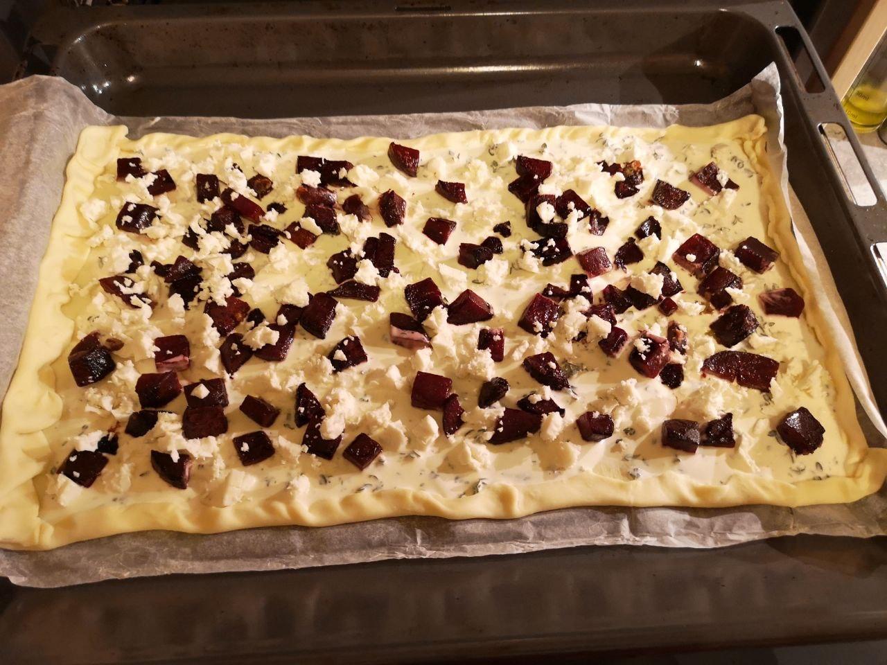 beetroot tarte before baking