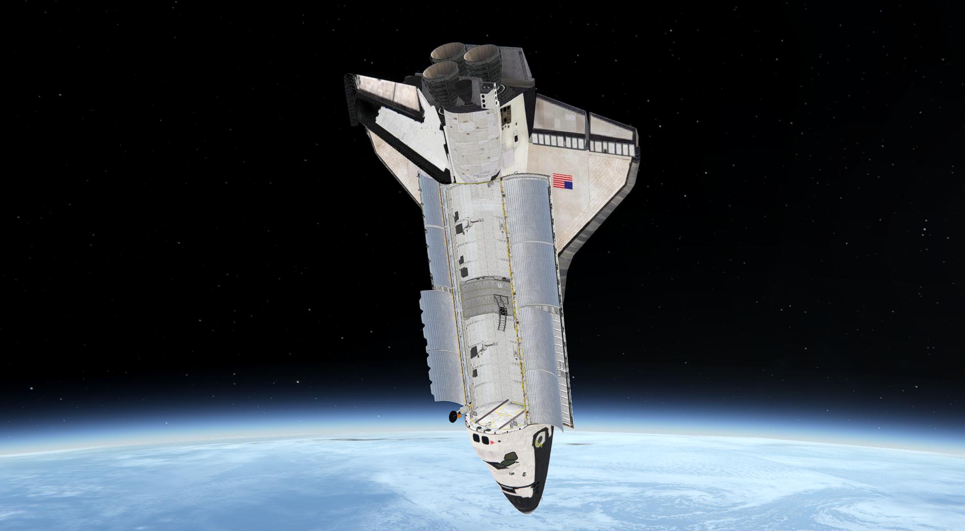 Image d'une navette au dessus de la terre.