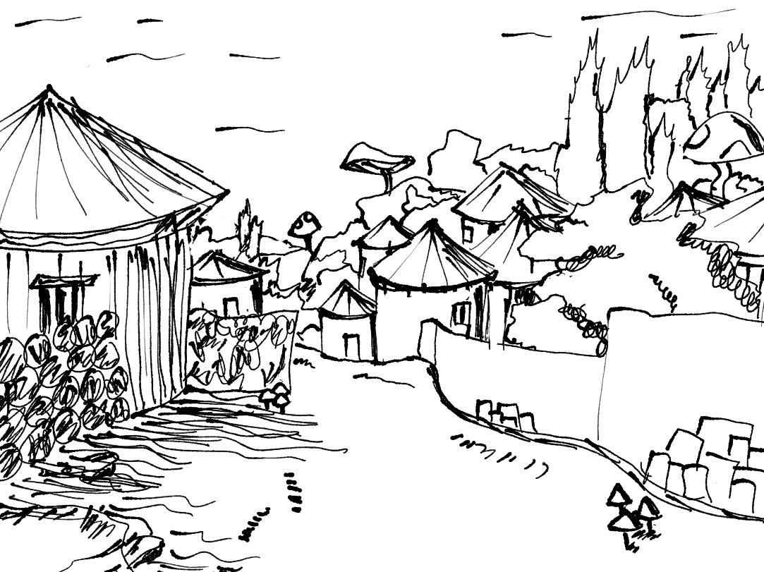 Path through a Domoutsan Village