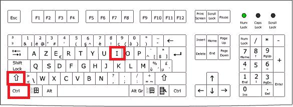ctrl + alt + i sur un clavier