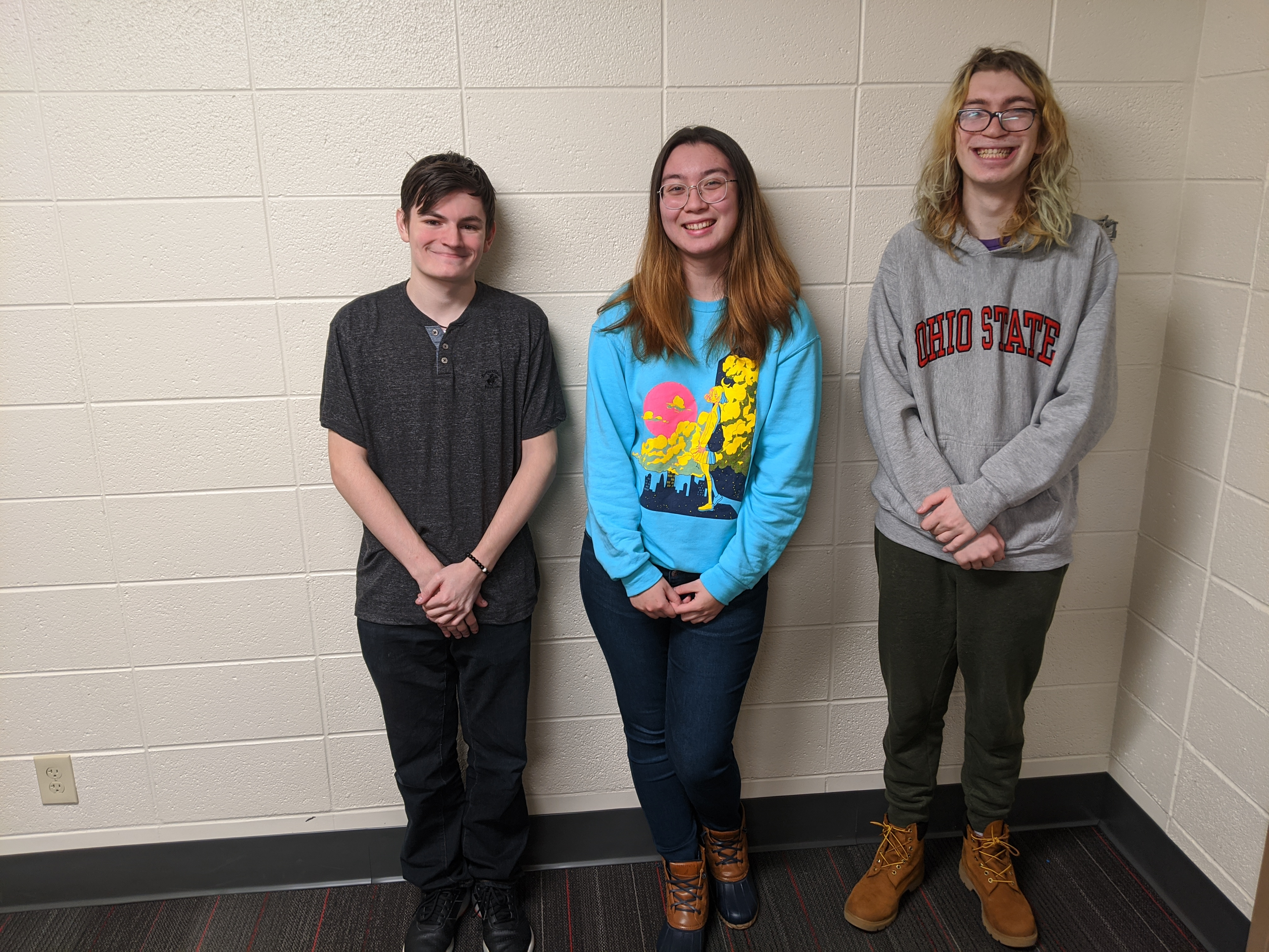 From left to right: Speesquack, Holli, and dashdude, members of OSU's MGTA team.