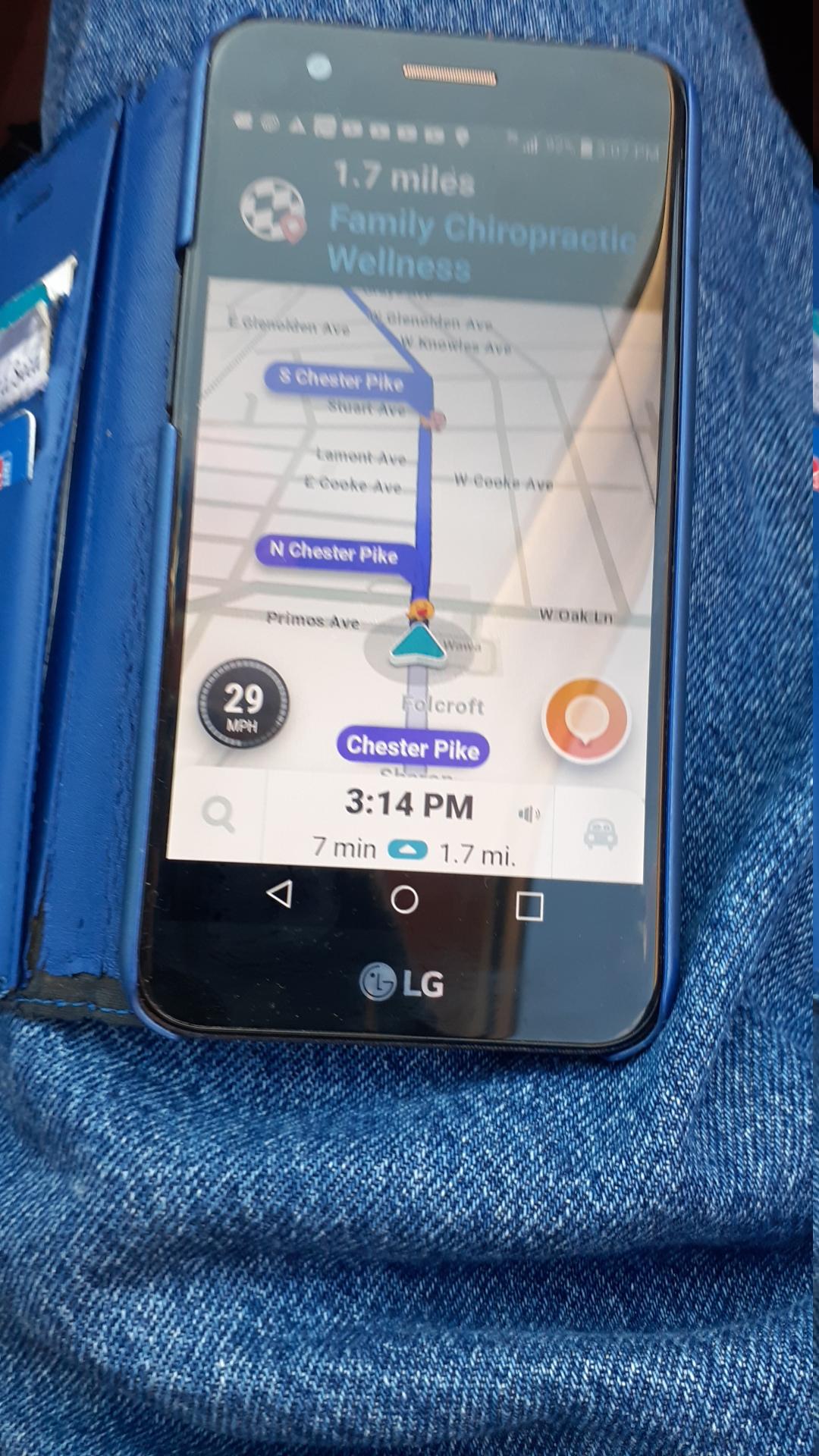 Screenshot of GPS showing I'd arrive at 3:14 PM 01/17/2020