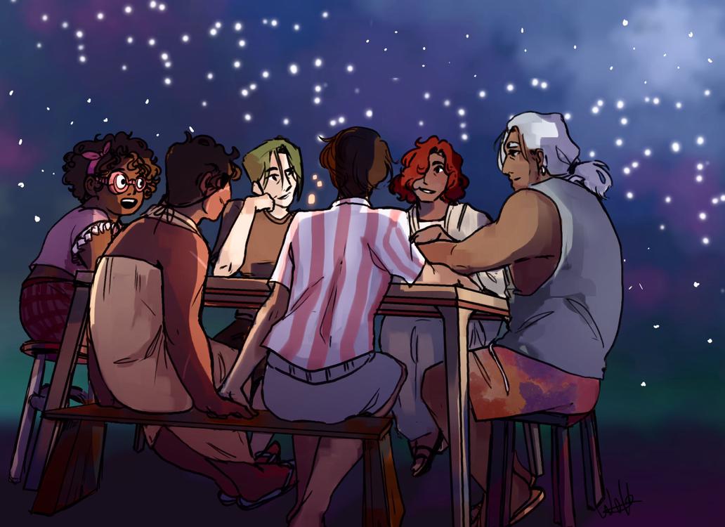 The Crime Crew eating dinner.