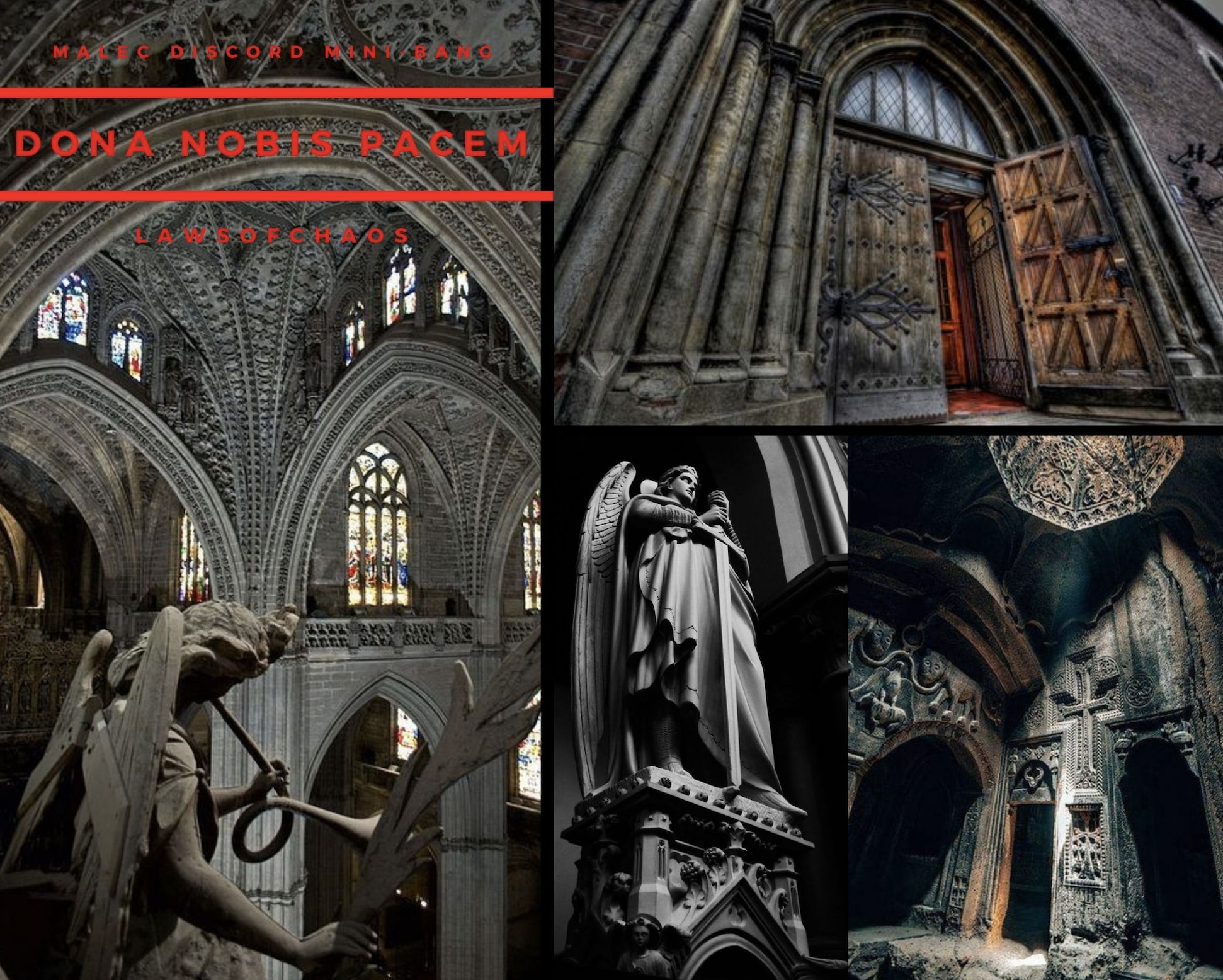 Title image for fic: dark cathedral aesthetic meant to convey the enormity of the scale of the building