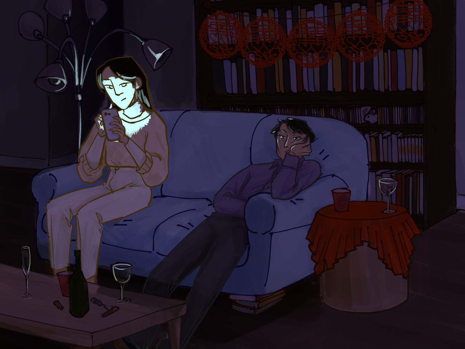 Lan Zhan and Jiang Cheng sitting on a couch surrounded by party decorations