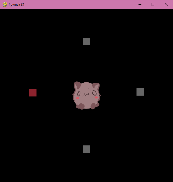 A screen with one creature surrounded by 4 squares, the one on the left colored red.