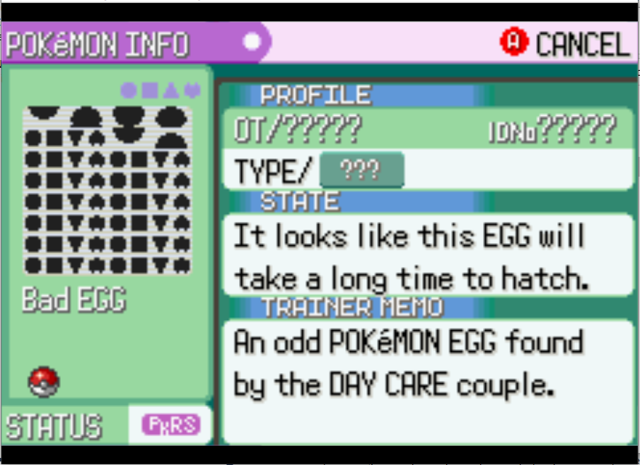 """Glitch Pokemon I like to call """"Mark"""".  Has a glitched sprite of many of the gen 3 marks."""