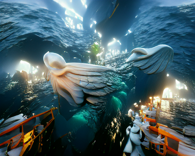the angel of the sea. unreal engine as imagined by jbuster. This is the first image generated with the unreal engine trick.