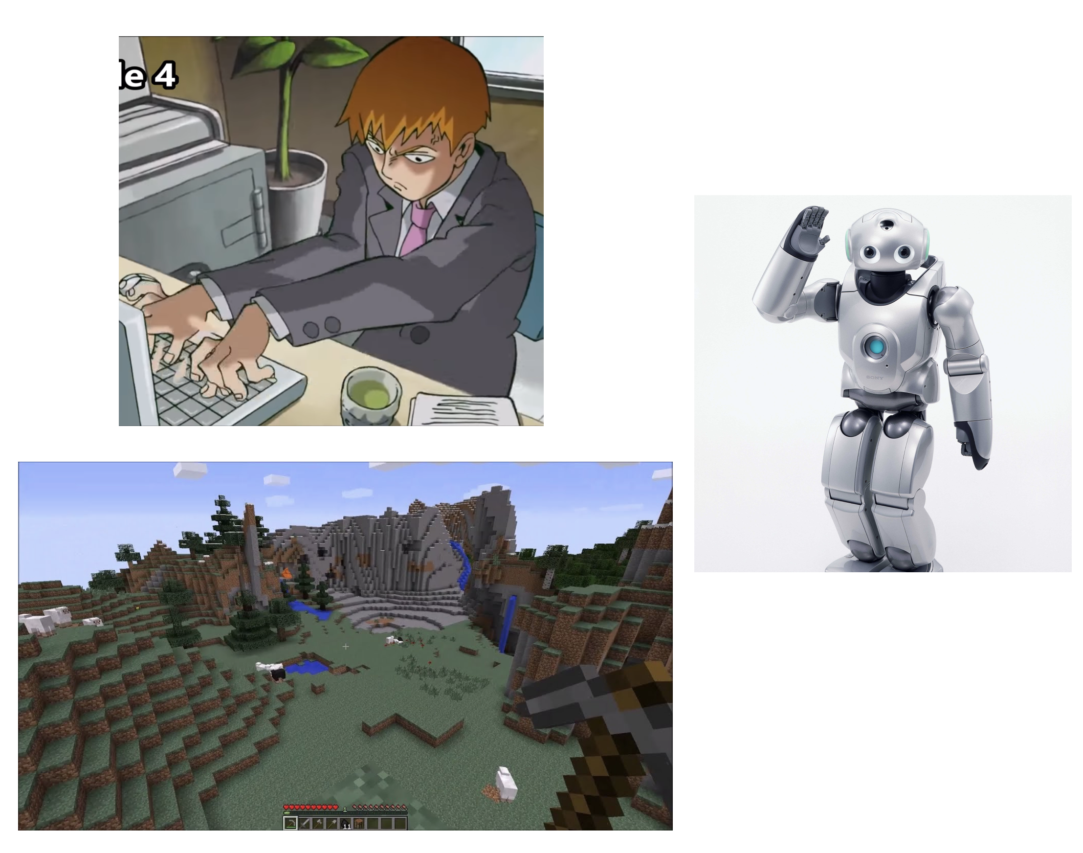 A man at his computer, a robot, and a picture of Minecraft.