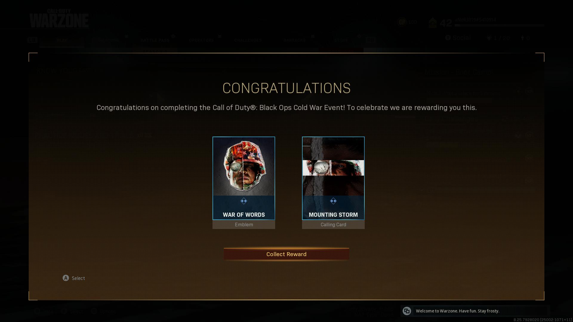 cold war event recompensas