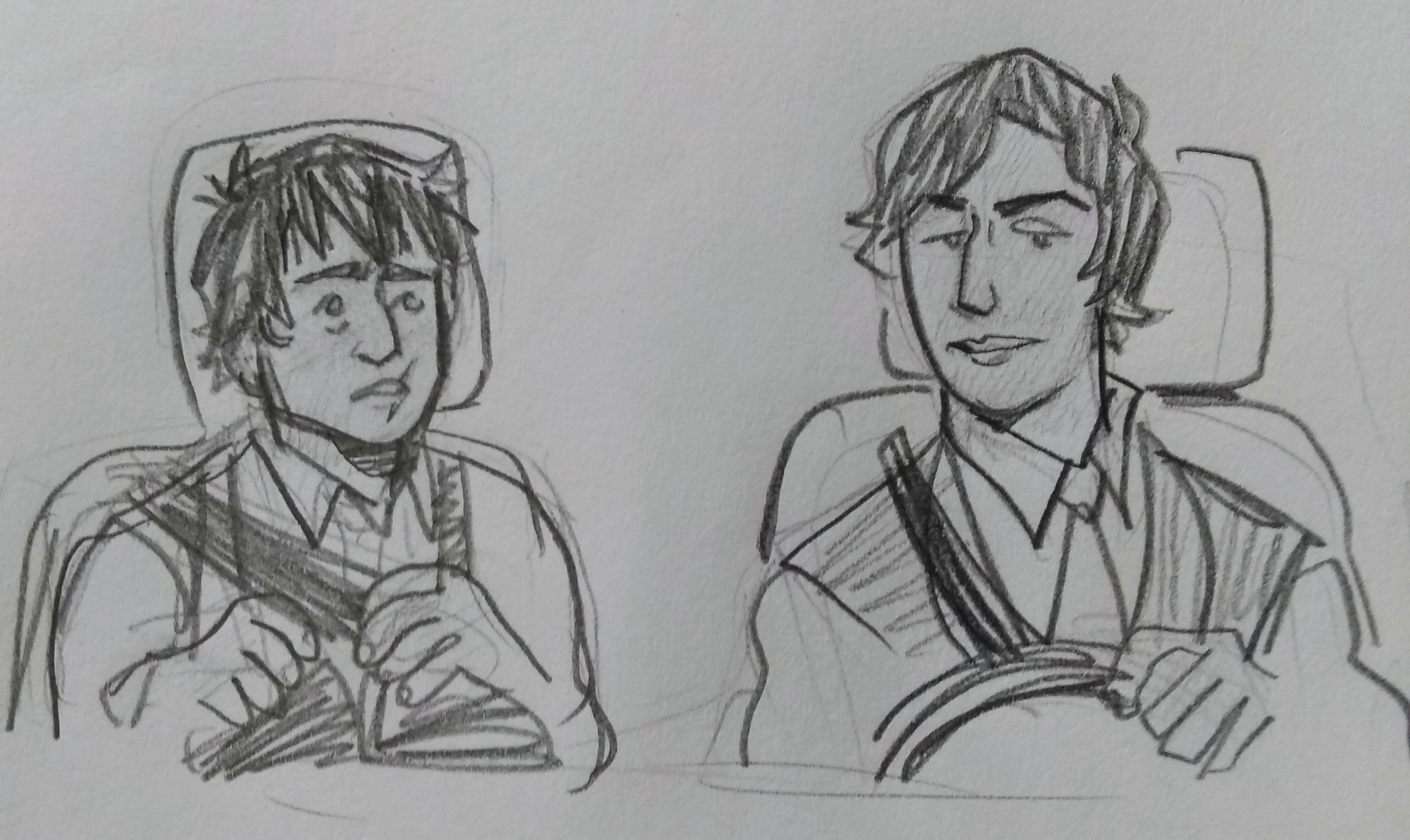 Caspian nervously sits in the passenger's seat as alan drives the two of them somewhere