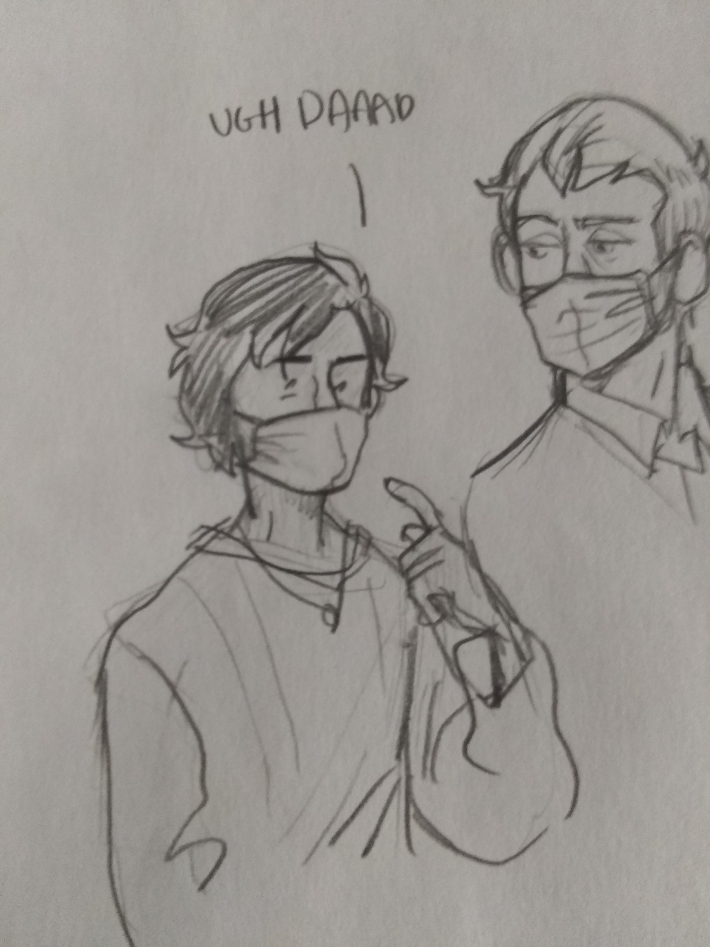 teen alan wears a mask and says ugh, dad. Howard, also wearing a mask, looks on.