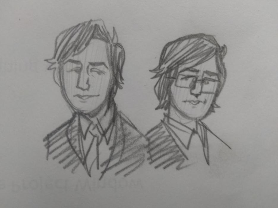 CEO Alan (no glasses, shorter hair, neat tie) vs. assistant Alan
