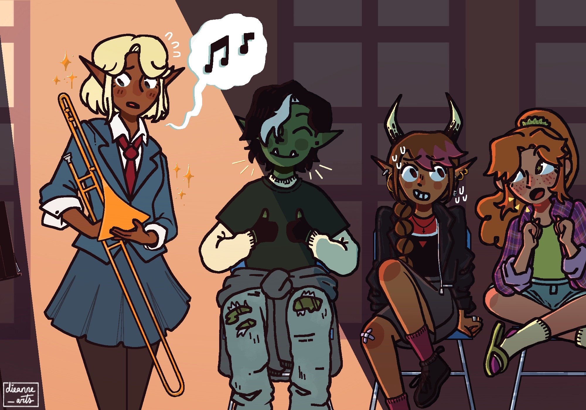 A drawing of Adaine, Kristen, Fig, and Gorgug. The latter three are sitting in chairs, holding respective expressions of delight, anxiety, and support. Adaine stands nervously, musical notes coming from her mouth to indicate singing. She's awash in a subtle spotlight.